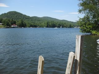 Northwest view of Huddle Bay from dock - Bolton Landing house vacation rental photo