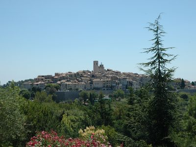 St-Paul-de-Vence villa rental - View onto St. Paul village 10 min walk from villa!