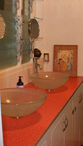 His and Hers vanity vessel sinks                Vintage  Formica