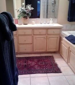 Plush towels and oriental rugs
