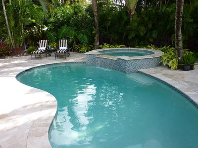Completely private patio is brand new, with a new heated spa and pool.