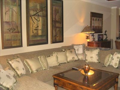 Beautiful Designer Plush Sectional, Wall Art Vases In Living Room !