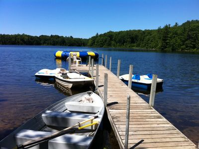 Dock view with plenty of water toys