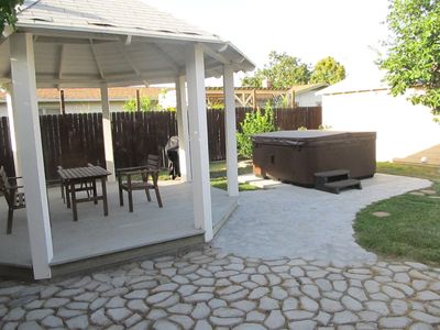 Back yard showing gazebo and spa/hot tub