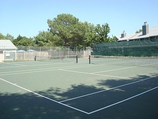 Rehoboth Beach villa photo - Loving serving...? We can see the tennis courts across the street.