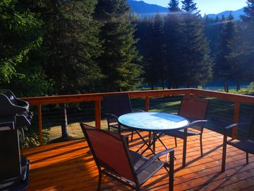 Cooper Landing house rental - Recently added river facing deck with Weber gas grill.