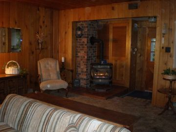 Sandpoint cabin rental - Cozy living area with gas stove