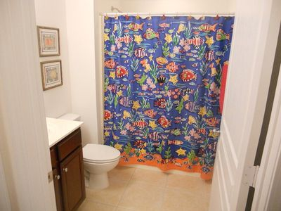 "Bright cheery guest bathroom, both bathroom have 36"" doors for wheelchair access"