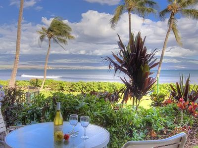 Our oceanfront view from our lanai is breathtaking as you can see!