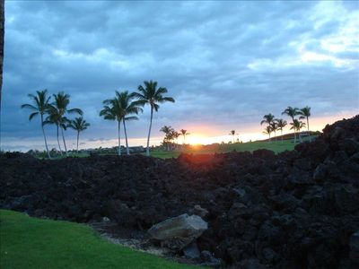 Sunset over golf course from Lanai