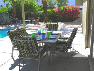 Palm Springs house photo - Al Fresco Covered Dining Poolside Just off Kitchen, Lounge Area in Background.