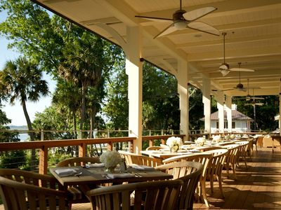 Canoe Club Veranda - one of four dining locations on property