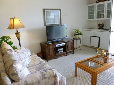 Living Room, Wet Bar with small Refrigerator