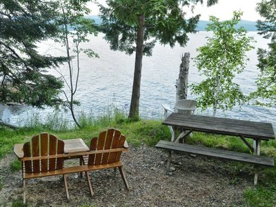 Rangeley Lake cabin rental - Loon front yard with picnic table (1 of 2) and Adirondack chairs
