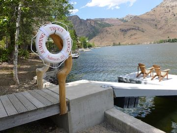 Welcome to Jumping Trout Lodge's dock. Enjoy scenery, relax, fish, read.