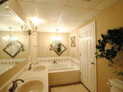 Bathroom on lower level with Jacuzzi and large separate shower