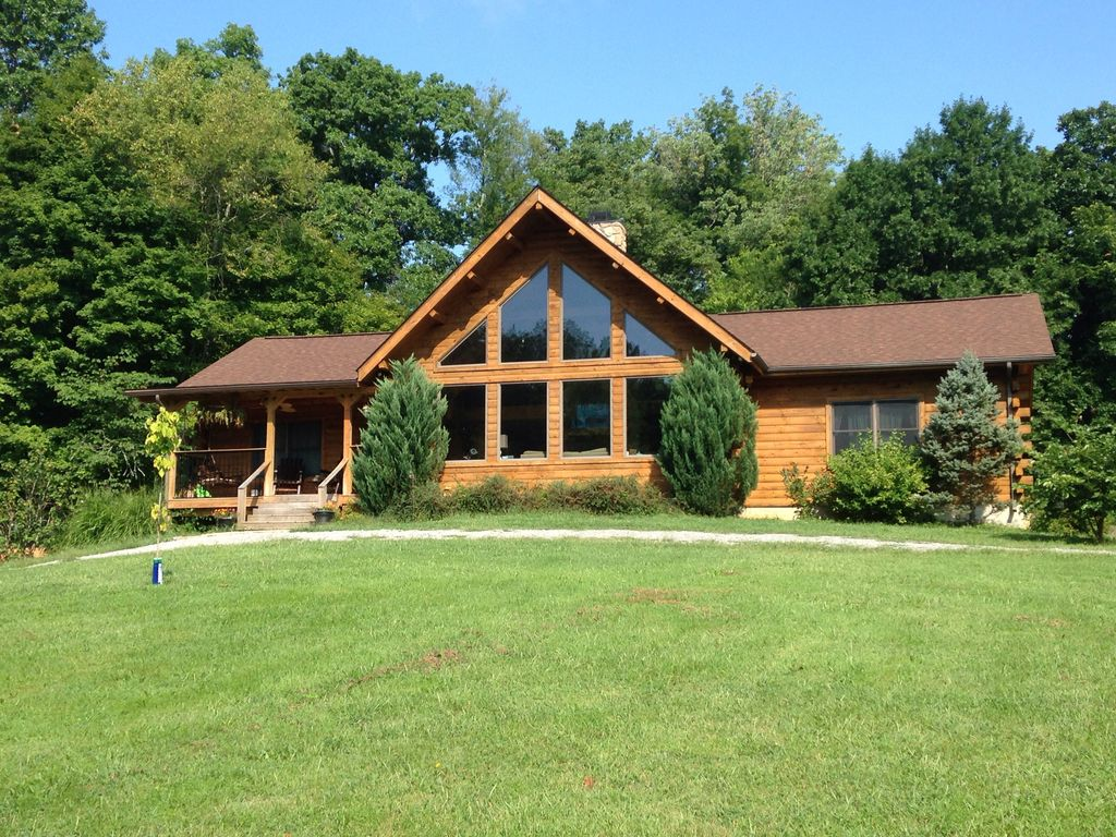 Beautiful log cabin home on 15 acres vrbo for A frame log cabin