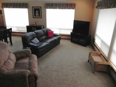 Living Room: 2 Comfortable couches and recliner for TV or ocean viewing.