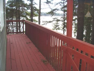 Deck on south side of cottage looking toward water