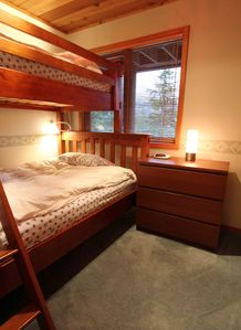 Downstairs Bedroom 2. Bunk bed. Twin/Full. Sleeps 2. Shared bathroom.