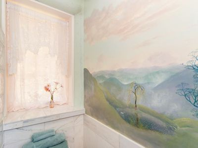 Bathroom with a view, exquisitely painted by acclaimed artist Rachel Clearfield.