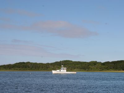 A lobster boat moored in Polpis Harbor--a few minutes drive from home.