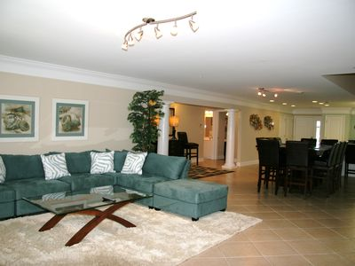 The living area is open to the kitchen and dining area. It is very spacious!
