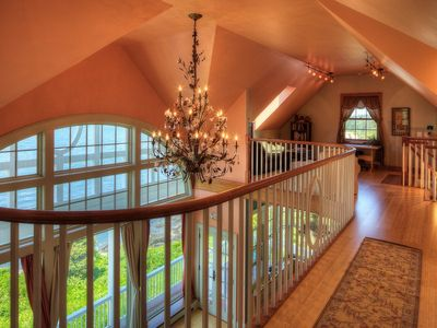 Pemaquid Point cottage rental - The balcony and den - overlooing the great room and 17' windows