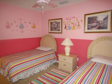 Girls upstairs princess themed bedroom 2nd angle