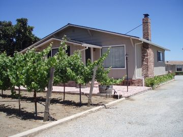 Prunedale farmhouse rental - Front of Guest House with a peek of the vineyard.