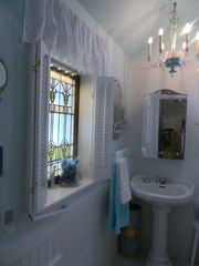 Seven Springs cottage photo - blue glass chandelier!