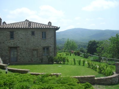 Piegaro farmhouse rental - the old farmhouse - one of the beautiful views from the pool