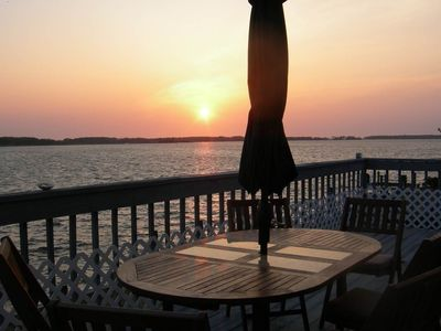 Dining on the sundeck each morning and evening when you are not at the beach