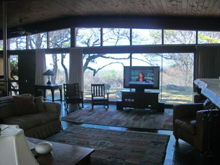 Chilmark house photo - View from front of fireplace surround sound with wireless speakers and network!