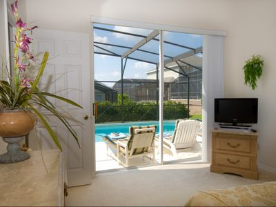 Orlando villa rental - Wonderful view from the Master Bedroom out to the Pool and Spa