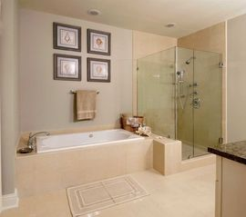 Orange Beach condo photo - Master Bath w/shower, bathtub, dual sinks and private commode