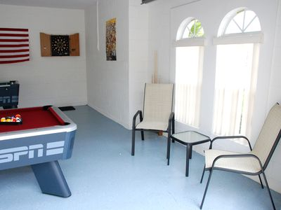 Haines City villa rental - Games Room with natural light - showing darts & pool table.
