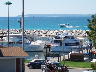 Overlooking Lake Michigan, Manitou Islands and Leland Harbor.
