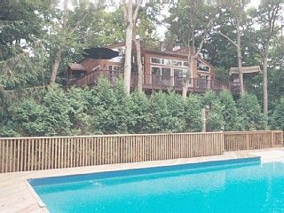 East Hampton estate rental - View of House Main House From Pool