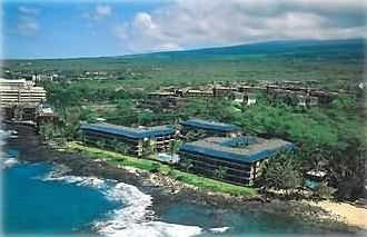 Kona Reef Condo complex (the blue tile roofs) - and the sandy beach next door