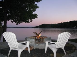 Lake Bomoseen house photo - Fire Pit Overlooking Lake - Longest view on the lake