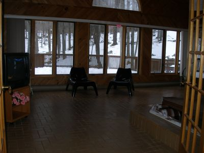 Lake Ariel house rental - Partial view of HUGE SPA room:Jacuzzi/Sauna/view of beautiful private forest