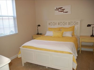 Reunion house rental - Queen Bedroom. Main floor. Pillowtop mattresses, luxury linens.