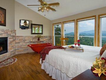 MASTER BEDROOM UP STAIRS, KING BED, FIREPLACE, PRIVATE BATH, TV, SUNRISE VIEWS