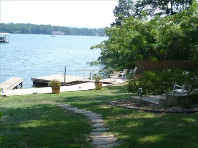 Walk from cottage down to swim dock for full lake view..