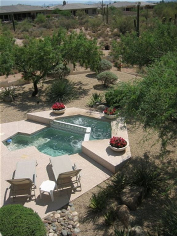 Scottsdale house rental - View of the spa/pool and backyard that backs to the desert.