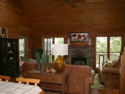 Enjoy the cabin feel of the family room