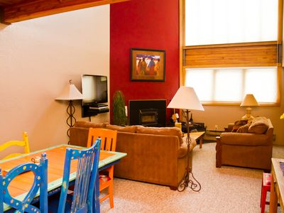 Taos Ski Valley condo rental - Living area with fireplace!