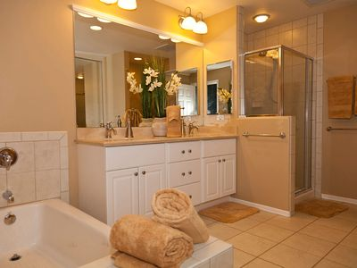 Master bathroom with soaking tub and shower