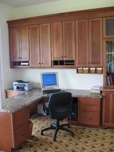 One of the two built-in, granite-topped desks in the office (if you must work)!